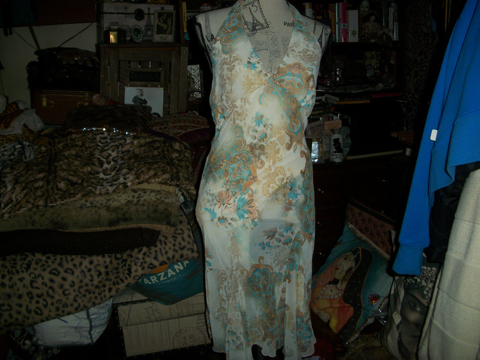 Primary image for ELLEN & ERIC Romantic Baby Blue Floral Print Halter Asymmetric Hem Dress Size L