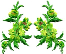 Green yellow flowers pair floral bouquet boho applique iron-on patches n... - $3.75
