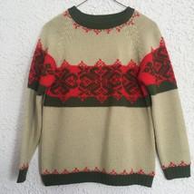 Vintage 1970's Tami Wool Sweater Women's Medium Tan Red Green Christmas - $9.85