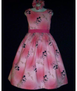 NEW Handmade Disney Mickey Mouse On Pink Jumper Dress Set Custom Sz 12M-... - $59.98