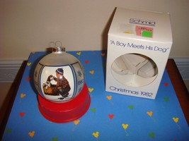 Schmid 1982 Norman Rockwell A Boy Meets His Dog Ornament - $13.99