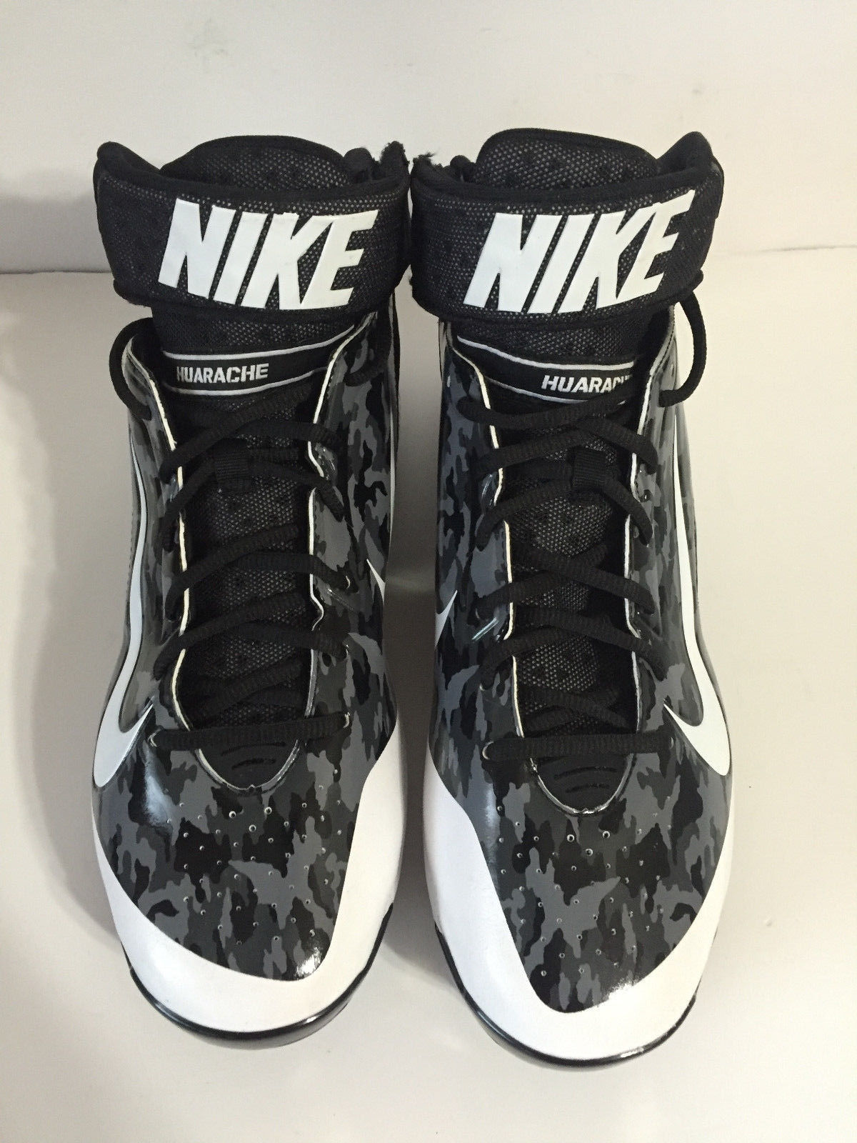 Nike Air Huarache Pro Mid Metal Baseball Cleats Sz 12 Black/Camo 599235-099