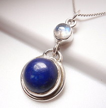 Lapis and Moonstone Necklace 925 Sterling Silver Double Gem Round New - $20.21