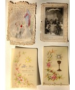 19th C Antique Christian Holy Cards France, Engraved, Paper Lace, Applie... - $32.61