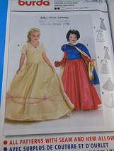 BURDA 2480 Childs Princess Snow White Gown Cape Costume Pattern UNCUT FF... - $6.72