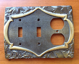 Vintage Brass Amerock MONTEREY Combination Triple Switchplate Cover - $22.58