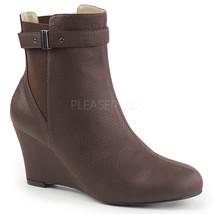 "PLEASER 3"" Wedge Heel Brown Matte Ankle High Boots Large Sizes KIM102/BNPU - $70.95"