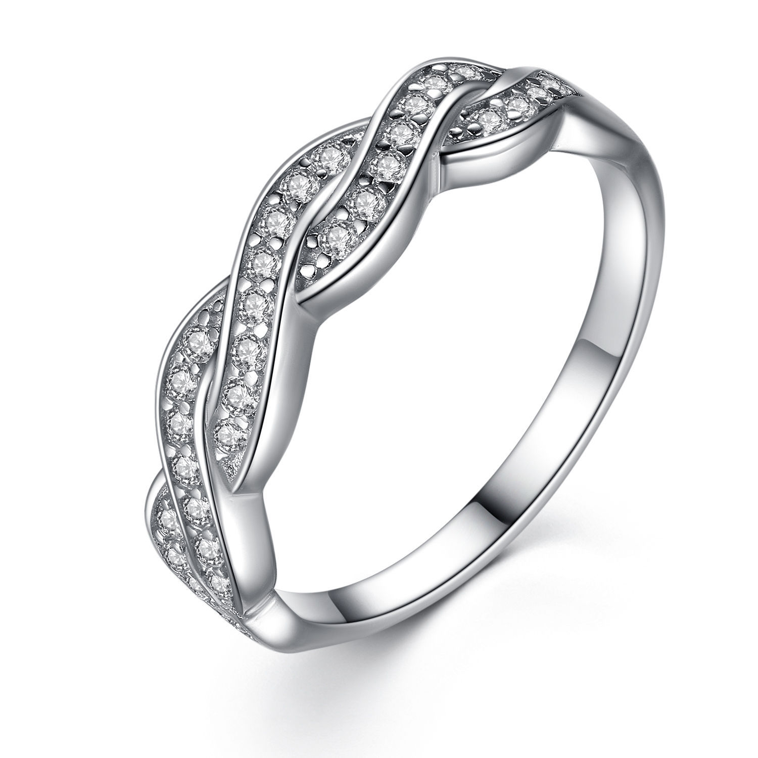 Women s solid sterling silver aaa cz infinity anniversary