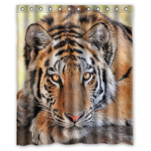 Angry Tiger Design #03 Shower Curtain Waterproof Made From Polyester - $31.26+
