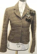 Zara Women Blazer Tweed Brown W Floral Brooch Metal Lined Wool Cropped Jacket - $38.44