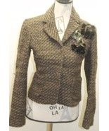 Zara Women Blazer Tweed Brown W Floral Brooch Metal Lined Wool Cropped J... - $38.44