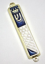Judaica Blue Enamel Gold Tone Mezuzah Case Western Wall Crown Decoration 7 cm