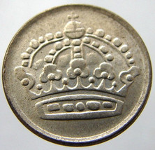 1960 SWEDEN CROWN over 50 Years Old Gustav VI Swedish Silver 10 öre Coin - $4.99
