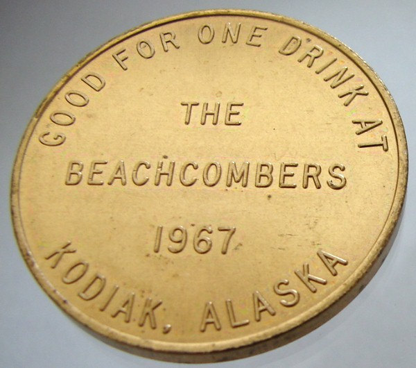 ALASKA KODIAK TOKEN United States the Beachcombers One Drink jetton Token Medal