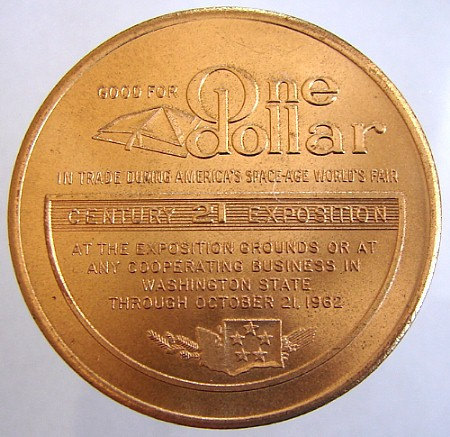 WORLDS FAIR 21st CENTURY United States Seattle Space Age Expo 1962 jetton Token