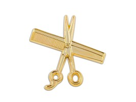 High Quality MD Barber Hand Made Shear & Comb Lapel Pin (Gold) - $14.99