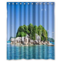 Ocean Island House Lanscape Nature Shower Curtain Waterproof Made From Polyester - $31.26+
