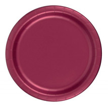 "24 Plates 9"" Paper Dinner Lunch Plates Wax Coated - Burgundy - $4.41"