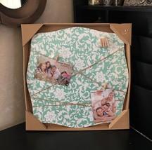 "SHABBY CHIC 17""x17""x0.5"" Wood PHOTO CLIP FRAME+MEMO BOARD Floral AQUA+WH... - $25.73"