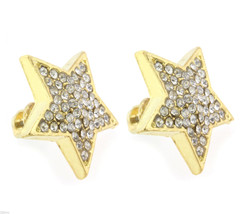 Ladies Gold Finished 12mm Small Stars Lab Cz Screw Back Stud Earrings - $9.89