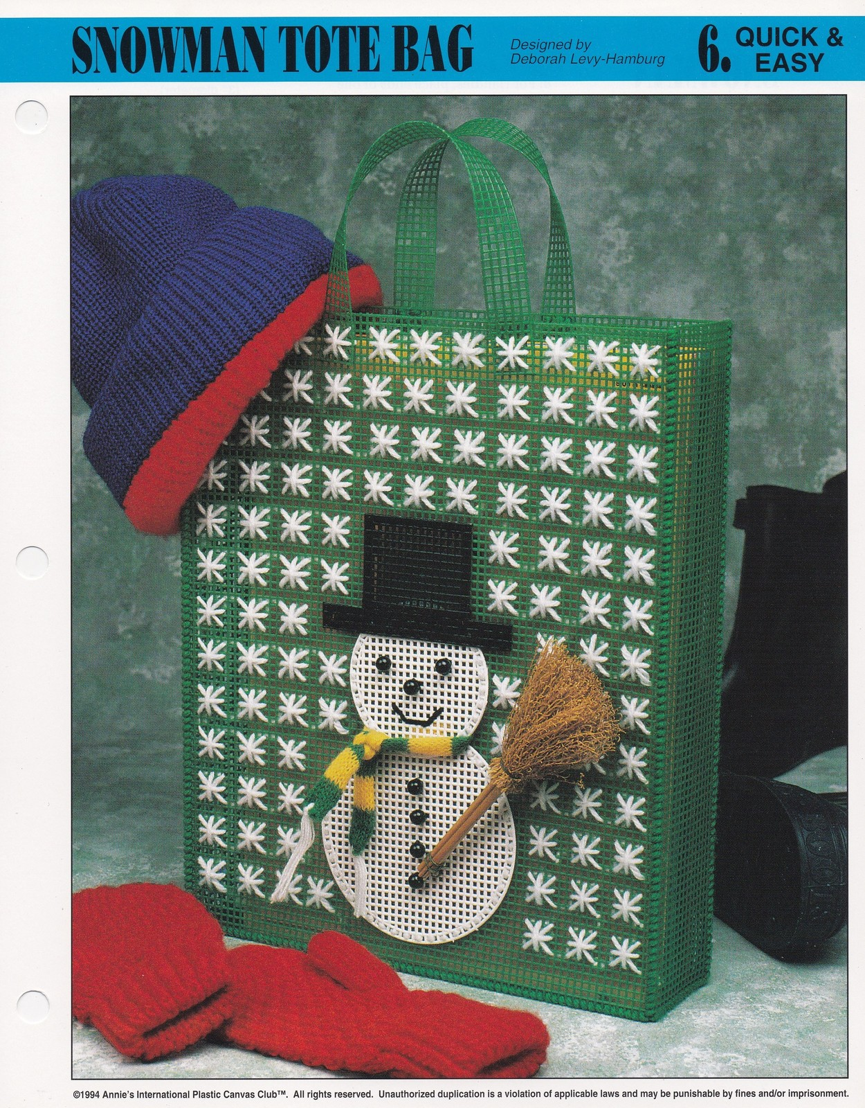 Primary image for Snowman Tote Bag, Annie's Plastic Canvas Pattern Leafelt 310-07 Gift Bag Totebag