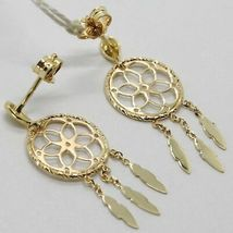 18K YELLOW GOLD DREAMCATCHER PENDANT EARRINGS, FEATHER, MADE IN ITALY, 32 MM image 5