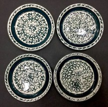 Set Of 4 Dinner Plates Sponge Stoneware  Tiesha... - $14.89