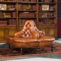 Classic Library Lobby Tufted Brown Italian Leather Round Sofa,57'' D .Last one! - $3,900.00