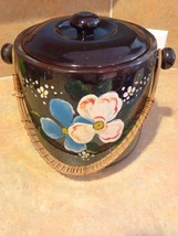 Redware Brown Floral Design Cookie Jar Red Clay Vintage Bamboo Handle - $27.99