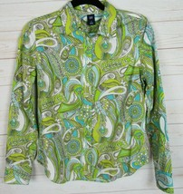 Gap Womens Lime Green Long Sleeve Paisley Button Up Blouse Size S - W670 - $9.99