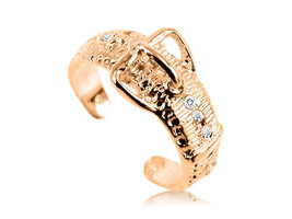 10K Solid Yellow GOLD Belt Buckle CZ Toe Ring - $79.00