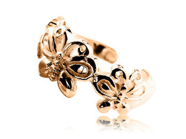 10K Solid Yellow GOLD Butterflies Toe Ring - $81.00