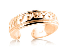 10K Solid Yellow GOLD Surf Waves Toe Ring - $112.27+