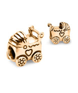 10K SOLID GOLD Baby Carriage Stroller Pram Fits EURO BRACELETS Charm Bead - $137.61