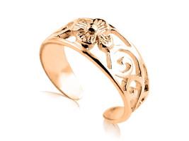 10K Solid Yellow GOLD Filigree Flower Toe Ring - $106.65
