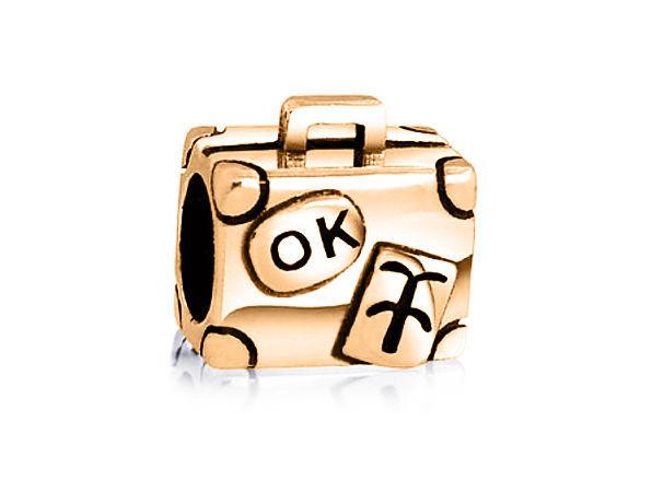 10K Genuine GOLD Suitcase Luggage Bag Vacation Fits EURO BRACELETS Charm Bead