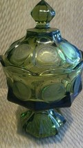 Vintage 1887 Eagle design Green glass candy ped... - $14.80