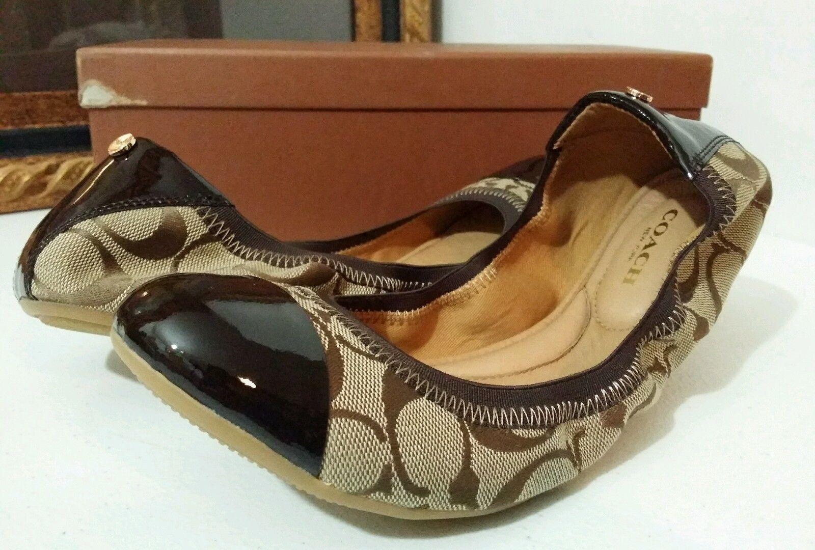 S l1600 S l1600 New COACH Wanda 9 5 M Women Ballet Flat Khaki Chestnut 12cm Sig C Patent