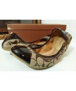 New COACH Wanda 9.5 M Women Ballet Flat Khaki/Chestnut 12cm Sig C/Patent... - $120.89