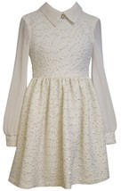 Big Girls Tween 7-16 Ivory Gold Foil Knit Boucle Chiffon Sleeves Social Dress