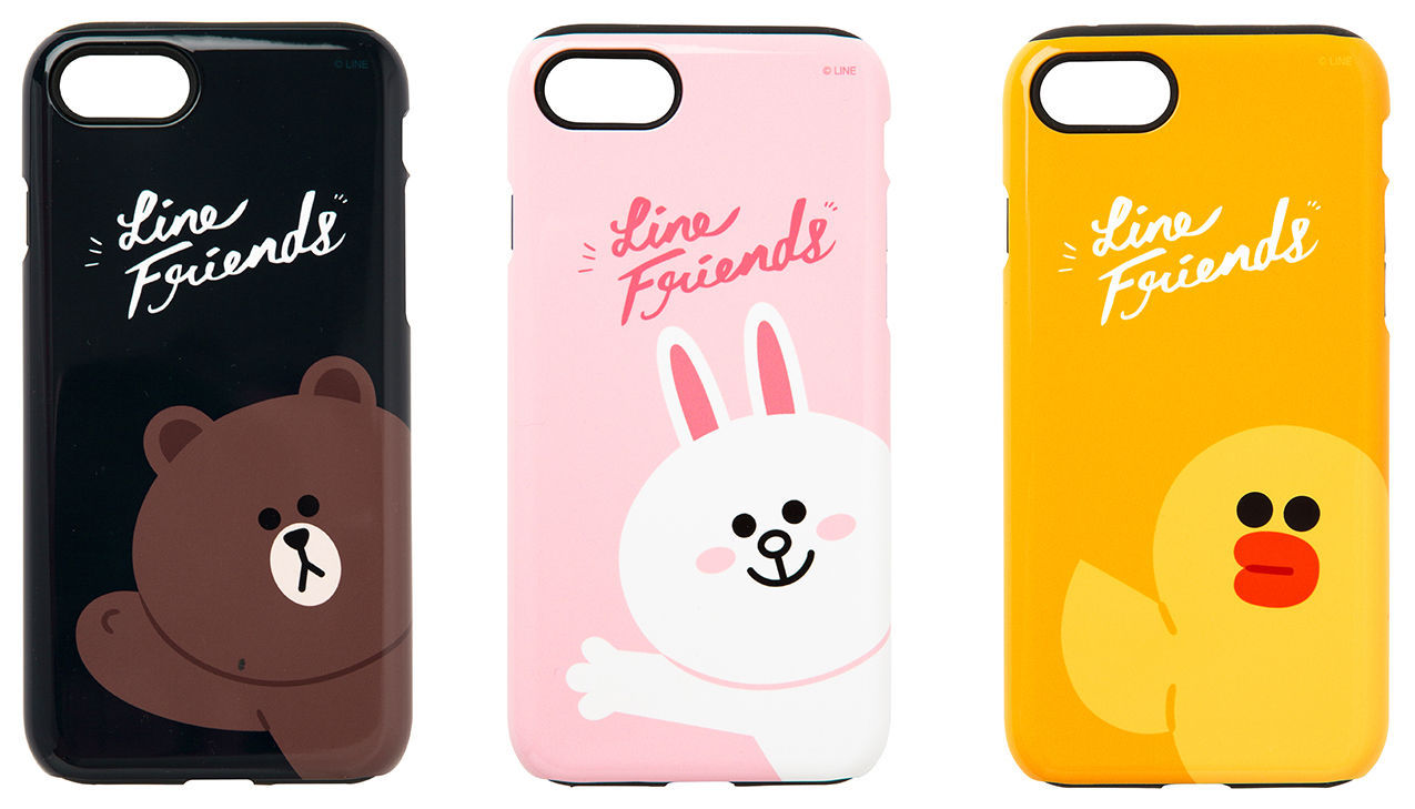 LINE Friends Guard Up Glossy Case iPhone 7/7Plus Hard Silicone Cover Mobile Skin