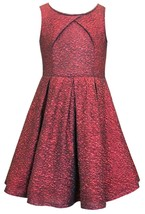 Big Girls Tween 7-16 Red Cracked Knit Crossover Pleat Fit Flare Social Dress
