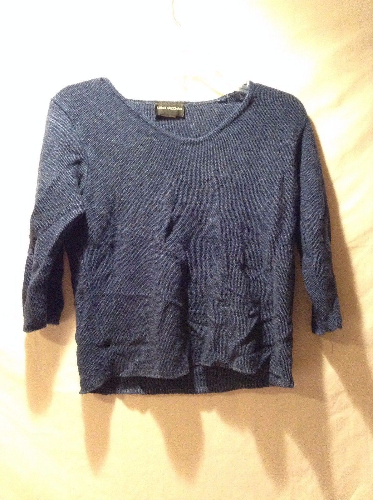 Women's Sarah Arizona Top 3/4 Sleeve Shirt Dark Blue Size Medium 100% Rayon