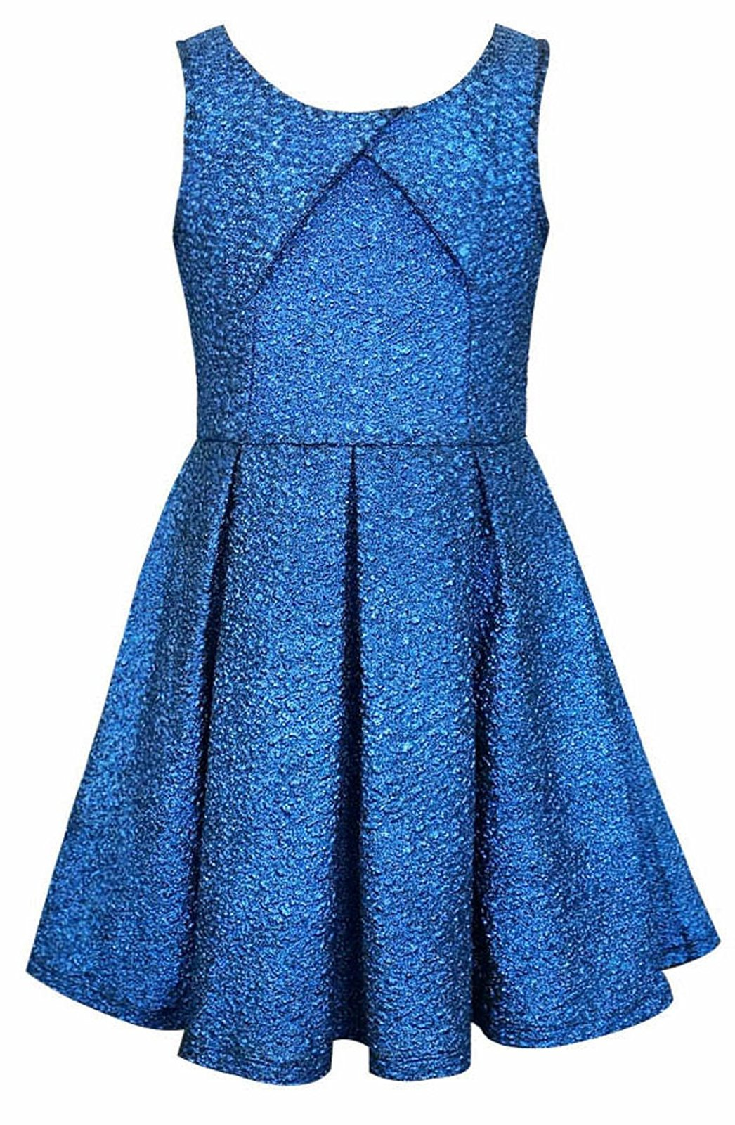 Big Girls Tween 7-16 Blue Cracked Knit Crossover Pleat Fit Flare Social Dress