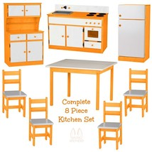 Complete Kitchen Play Set   8pc Orange & White Amish Handmade Kids Toy Furniture - $1,581.99