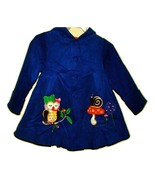 Toddler Coat-- Blue Corduroy designer Toddler hooded Owl Coat--2T  Maria... - $19.00