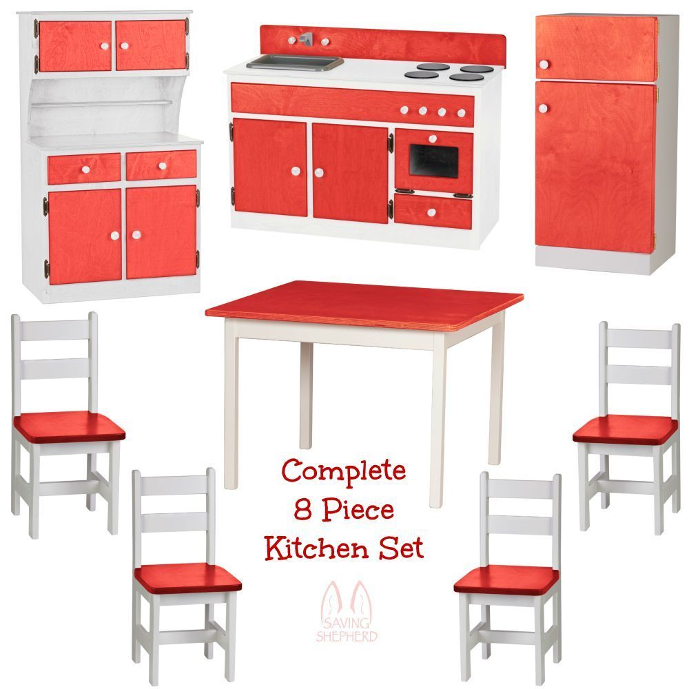 Complete kitchen play set 8pc red white amish handmade for Kitchen set red