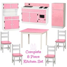 Complete Kitchen Play Set 8pc Pink & White Amish Handmade Kids Toy Furniture Usa - $1,581.99