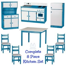 Complete Kitchen Play Set 8pc Blue & White Amish Handmade Kids Toy Furniture Usa - $1,581.99