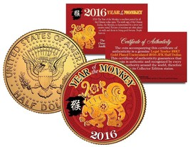 2016 Chinese New Year YEAR OF THE MONKEY 24K Gold Plated JFK Half Dollar... - $8.95